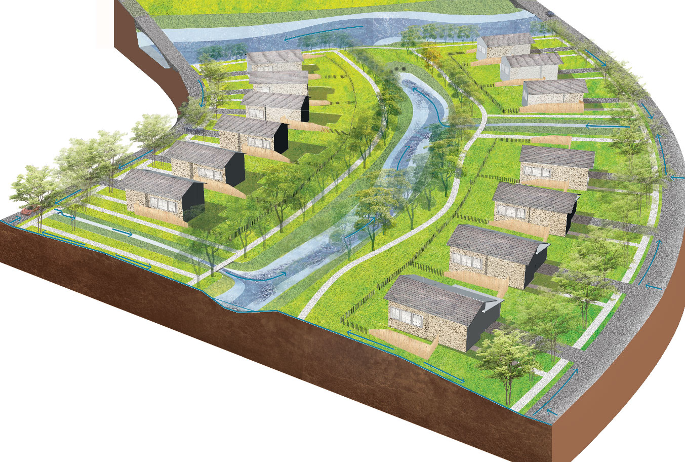 Feasibility study rendering of natural drainage residential development (or low impact development) with creek system and linear detention, infiltration, and stormwater quality features.