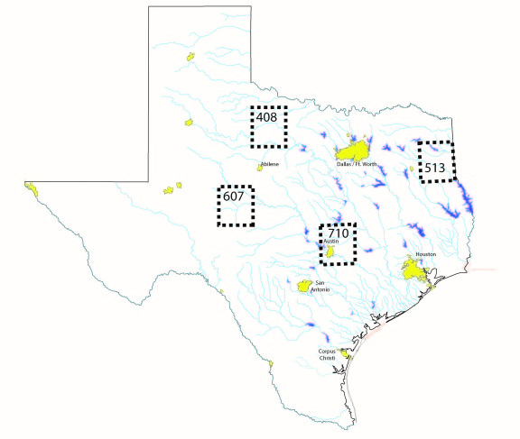 Figure 2. The locations of regions for which evaporation data are collected by the Texas Water Development Board as depicted on Figure 1.