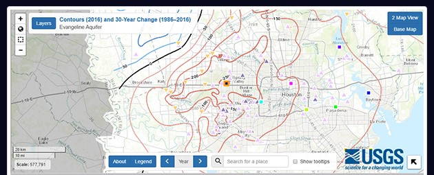 USGS subsidence mapping tool