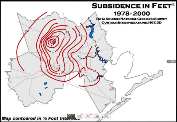 Map of Houston-area subsidence.