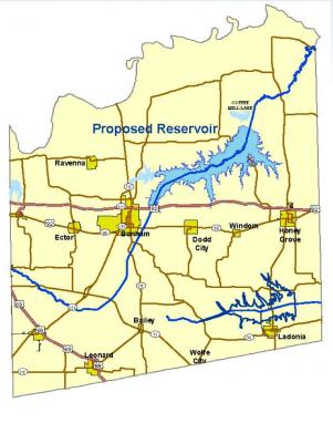 Future site of Lower Bois d'Arc Creek Reservoir in Fannin County, Texas.