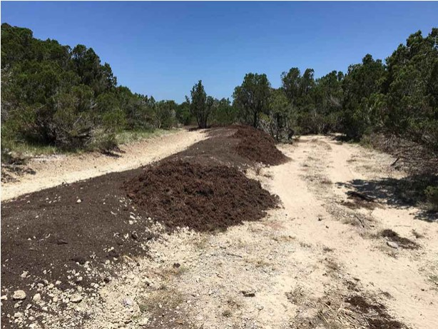 The compost and mulch was spread over the berms to protect bare soil from erosion and reduce evaporation from wind and sun.